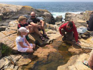 chris nadeau explaining rock pools to park visitors
